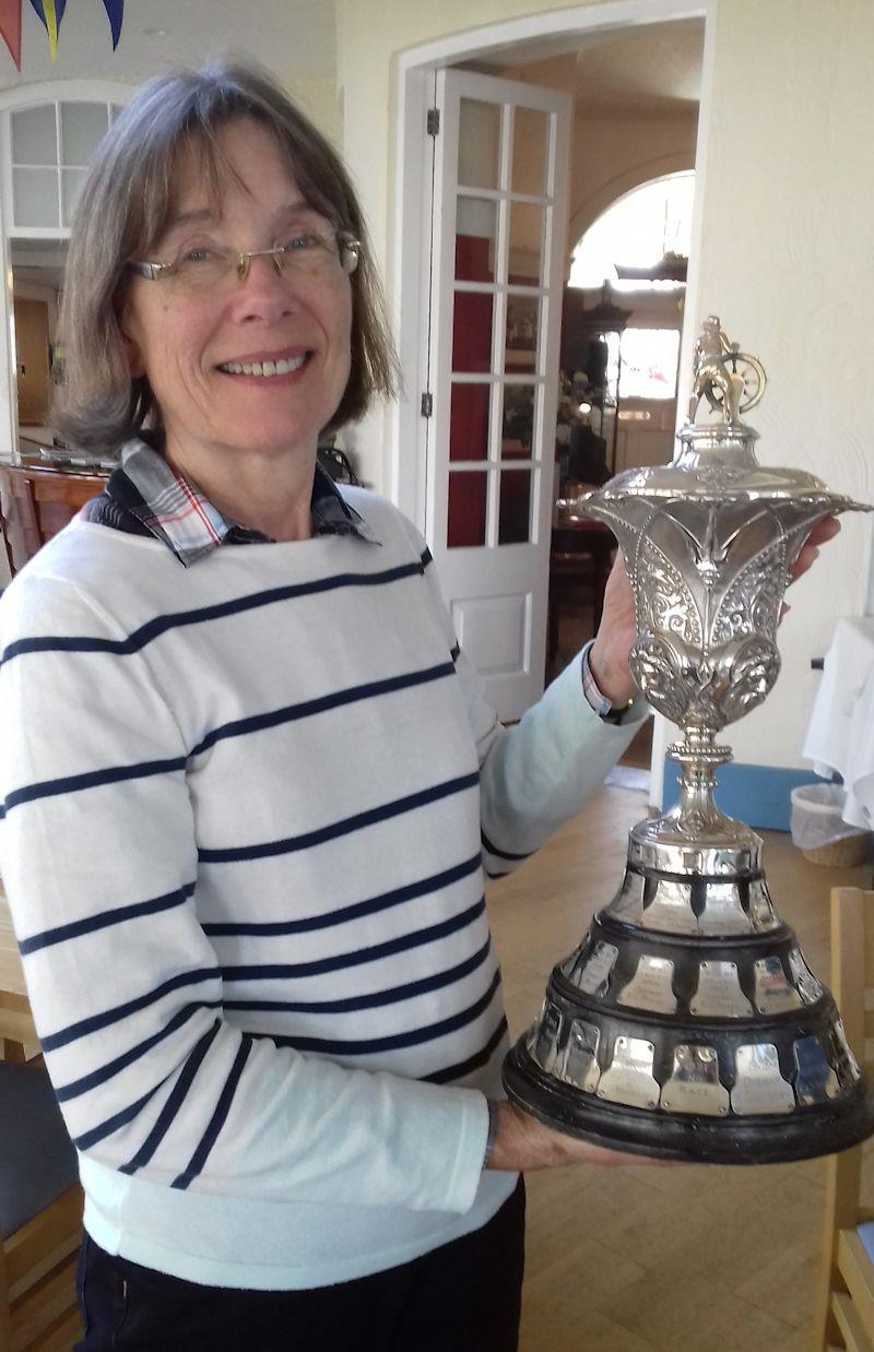 During a visit to the Royal Norfolk & Suffolk YC, Gillian Westall was handed one of the trophies that International 14 'Nimbus' had won back in the mid-1930s - photo © David Henshall