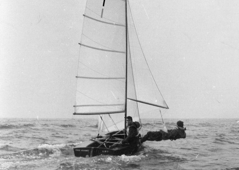 Set on a 9ft pole, the Ghost carried one of the very early forms of asymmetric spinnaker. However fittings and sailing techniques would take a while to catch up with the innovation - photo © Gregory family