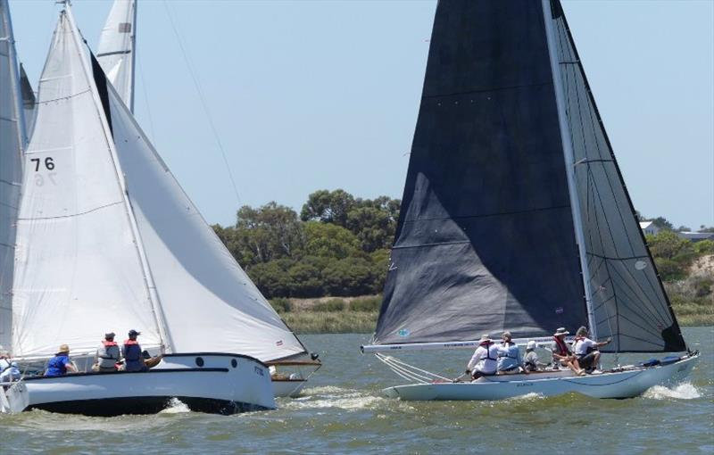 The vintage boat racing provided plenty of excitement - Goolwa Regatta Week photo copyright Chris Caffin taken at Goolwa Regatta Yacht Club and featuring the Classic & Vintage Dinghy class