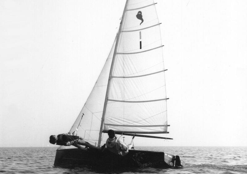 The fully battened high aspect rig of the Ghost dinghy was certainly powerful but not easy to use - photo © Gregory Family