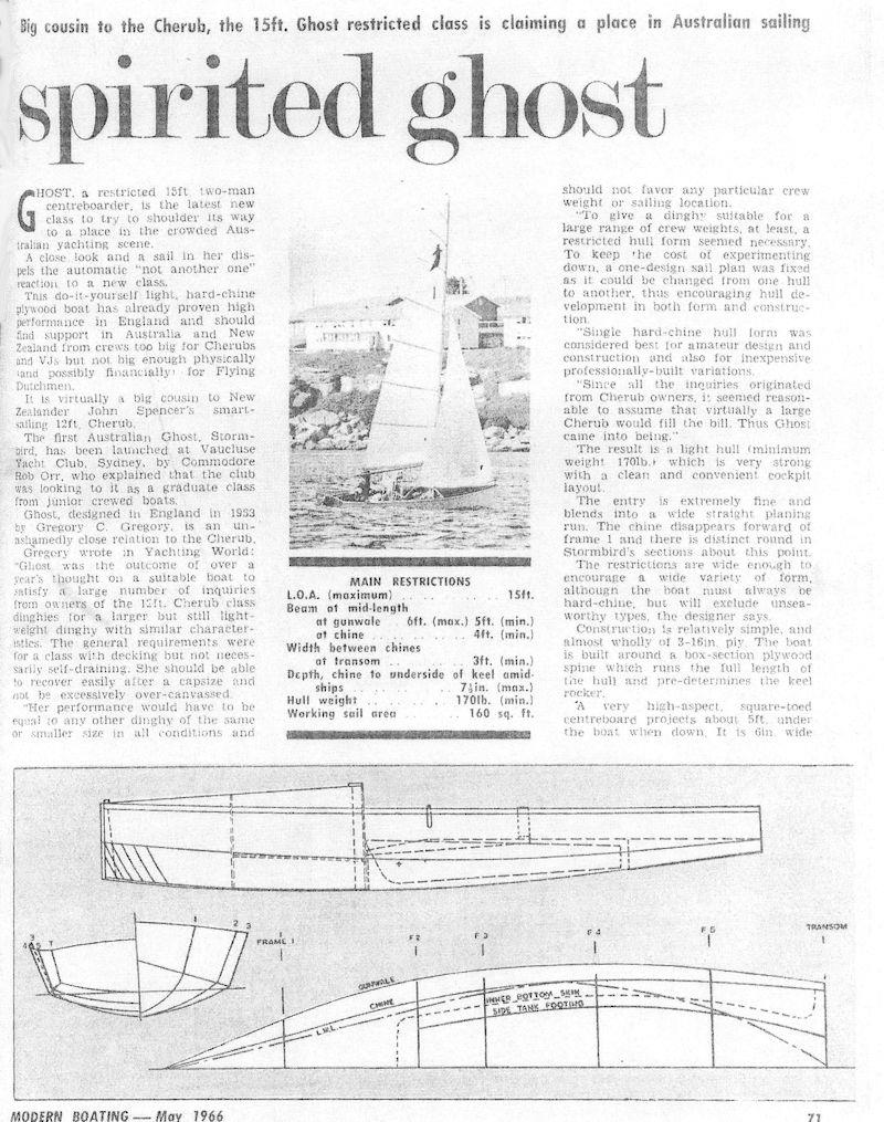 A report in an Australian sailing magazine in May 1966, describing the sighting of Ghost dinghies on Sydney Harbour - photo © Modern Boating magazine