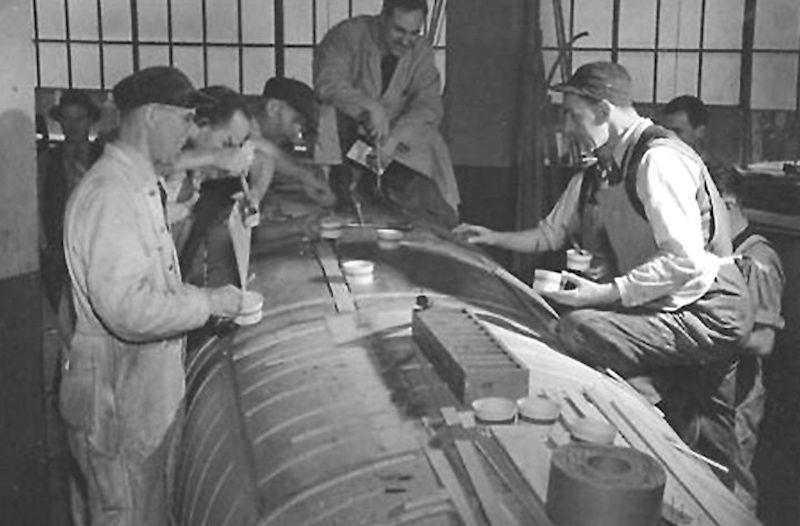 The first stage of manufacture as layers of lightweight beech ply are glued before being laid up over the mould - photo © Fairey Aviation