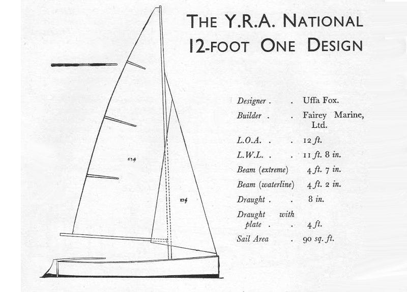 Design for the YRA National 12 Foot dinghy, which became known as the Fairey Firefly - photo © RYA