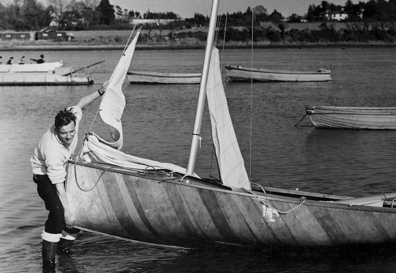 Charles Currey launching his Firefly on the Fairey Marine slipway at Hamble - photo © Dougal Henshall