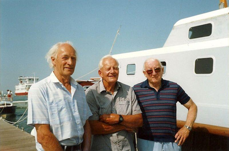 Charleys Currey at a Fairey Marine Owners Club event, flanked by Peter Twiss and Alan Burnard - photo © Twiss/Currey families