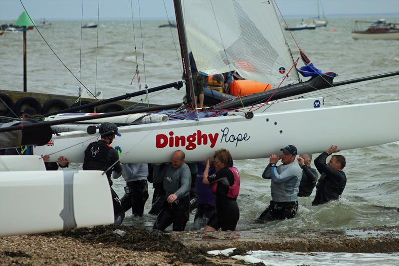 All hands help for recovery at the Tornado National Championship - photo © Dinghy Rope