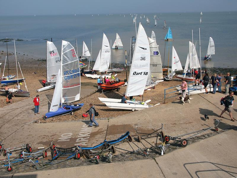 Launching at the Round Sheppey Race photo copyright IoSSC taken at Isle of Sheppey Sailing Club and featuring the Dinghy class