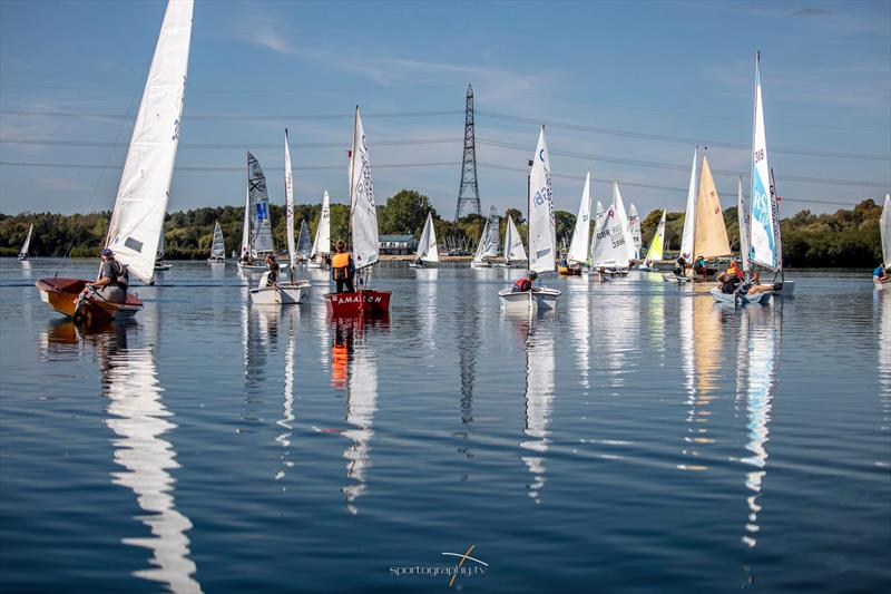 The wind switches off during Bart's Bash 2019 at Burghfield photo copyright www.Sportography.tv taken at Burghfield Sailing Club and featuring the Dinghy class