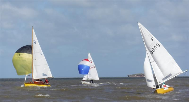 Hilbre sailed by Chris Riley, Miracle sailed by Mike and Anne St Paer and Firefly sailed by Octavia Owen during the West Kirby SC President's Race - photo © Alan Jenkins & Catherine Hartley