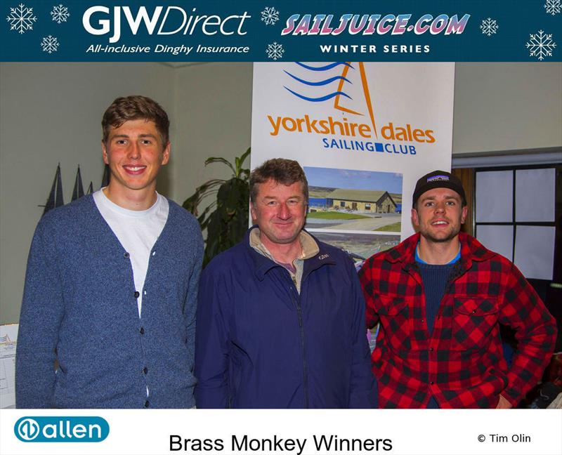 Winners at the Yorkshire Dales Brass Monkey 2017 photo copyright Tim Olin / www.olinphoto.co.uk taken at Yorkshire Dales Sailing Club and featuring the Dinghy class