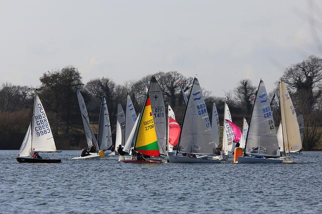 Congestion at the mark on day 7 of the Alton Water Frostbite Series - photo © Tim Bees