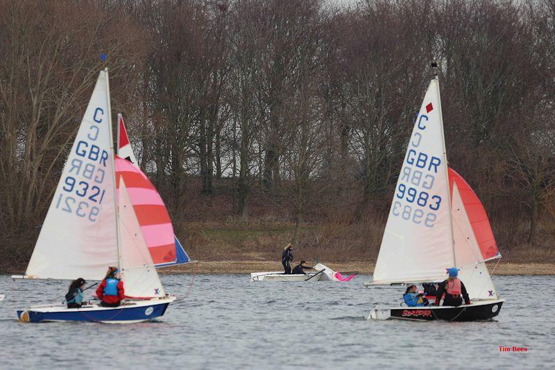 Dismasted RS200 during week 7 of the Alton Water Fox's Chandlery Frostbite Series photo copyright Tim Bees taken at Alton Water Sports Centre and featuring the Dinghy class