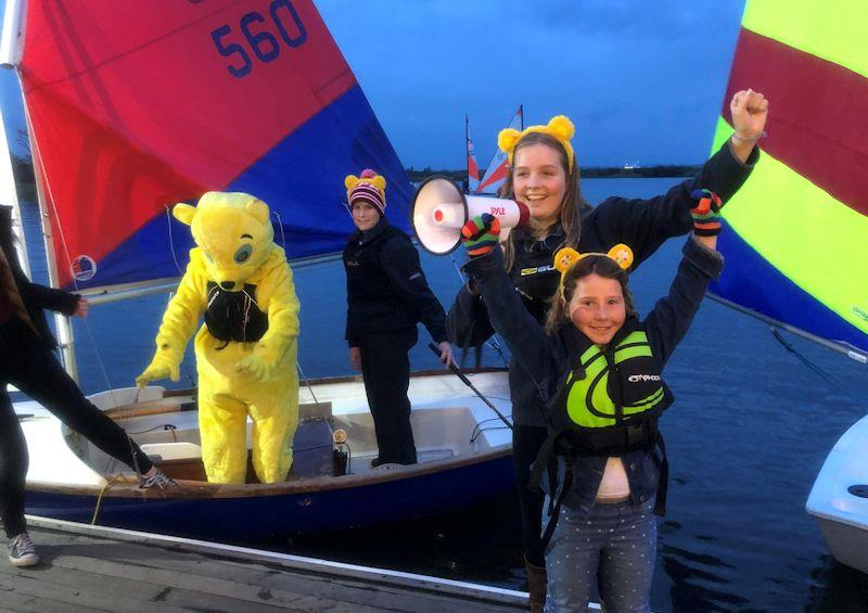 Pudsey at the launch, sailing in with Rear Commodore Ollie Baddeley, Commodore Freya Baddeley and young Salterns member Clodagh Grealish - 24 hour Salterns Sailathon - photo © Tanya Baddeley