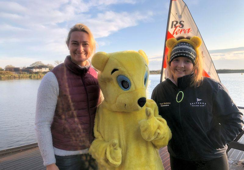 Double Olympic Gold Medallist, Sarah Gosling (née Webb) with Pudsey and Commodore Freya Baddeley - 24 hour Salterns Sailathon - photo © Tanya Baddeley