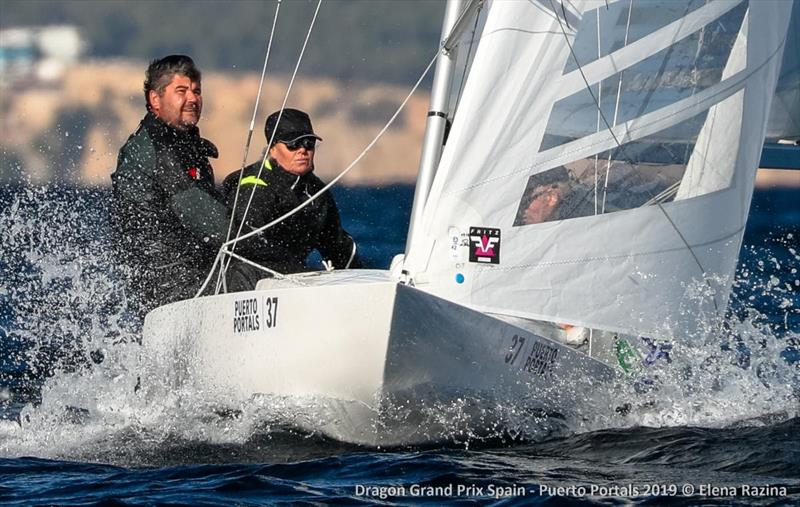 Nicola Friesen helming Khaleesi crewed by Vincent Hoesch and Aleksy Bushuev on their way to race 3 victory - 2019 Dragon Grand Prix Spain - Day 2 - photo © Elena Razina