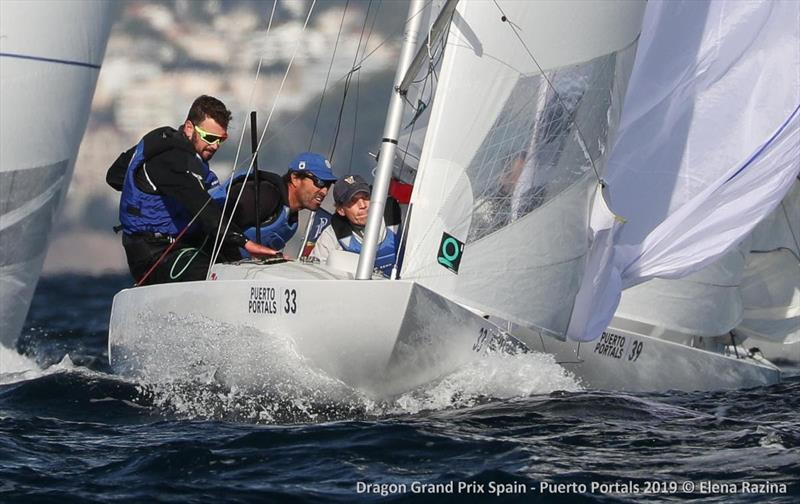 Race 4 winners Pedro Andrade, Kai-Michael Schaper and Joshua Weber sailing Mars - 2019 Dragon Grand Prix Spain - Day 2 photo copyright Elena Razina taken at  and featuring the Dragon class