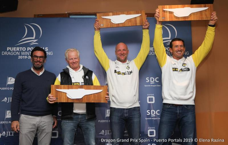 Pieter Heerema, Lars Hendriksen and George Leonchuk, winners of the 2019 Dragon Grand Prix Spain photo copyright Elena Razina taken at  and featuring the Dragon class