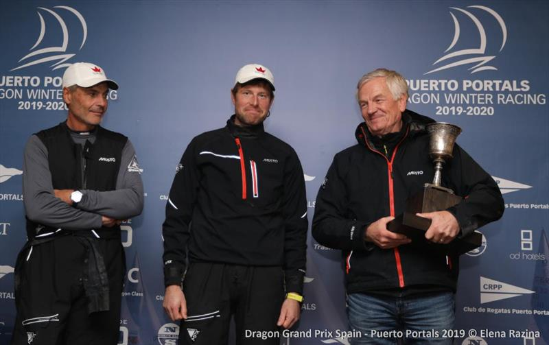 Jesper Bendix, Mads Hansen and Karl-Gustav Lohr with the Dragon Grand Prix Series Lowell Phyllis Trophy for the winning Corinthian team - photo © Elena Razina