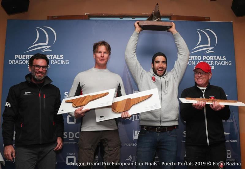 2019 Dragon Grand Prix European Cup Finals Winners Sophie Racing - L to R Martin Westerdahl, Bernardo Freitas and Lars Linger with the Sami Salomaa Flow Trophy - photo © Elena Razina