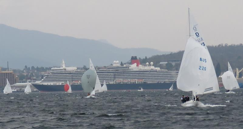 Cruise liner Queen Elizabeth provided a striking background to the Prince Philip Cup in Hobart. - photo © Leigh Edwards