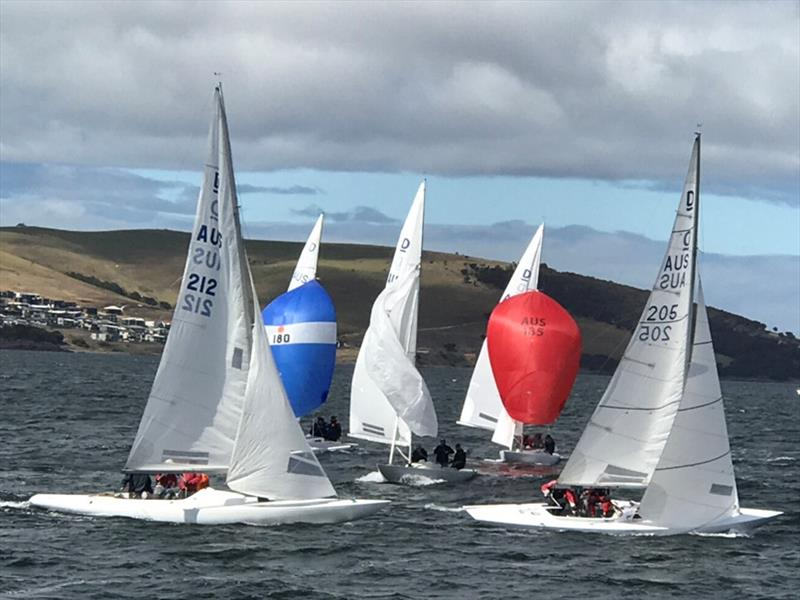 Karabos (205) leads the fleet around the leeward mark in one of the races in the Dragon states. photo copyright Kristine Logan taken at Royal Yacht Club of Tasmania and featuring the Dragon class