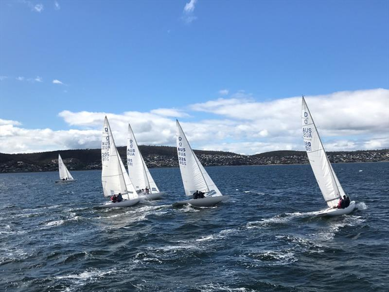 The Dragon fleet on the wind in the State championships - photo © Kristine Logan