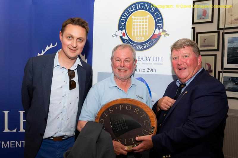 Ronan Goggin, Managing Director of O'Leary Life (l) & David O'Sullivan, Commodore of Kinsale YC with Slack Alice skipper Shane Statham, winner of the Portcullis Trophy for best boat under ECHO at the O'Leary Life Sovereign's Cup - photo © David Branigan / Oceansport