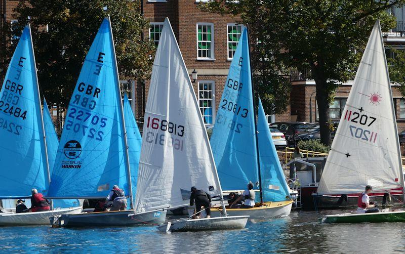 Minima YC Regatta 2020 - Ed Cubitt in the green-hull Laser has his nose in front soon after one of the Saturday starts, followed by Enterprise class winner Ed Mayley, Keith Payne, eventual Laser winner and the Ents of Robin Broomfield and John Forbes - photo © Rob Mayley