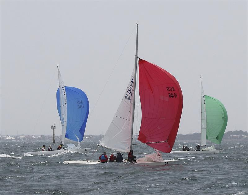 Heading downhill with part of the fleet on day 1 of the 2020 Etchells Australian Championship - photo © John Curnow