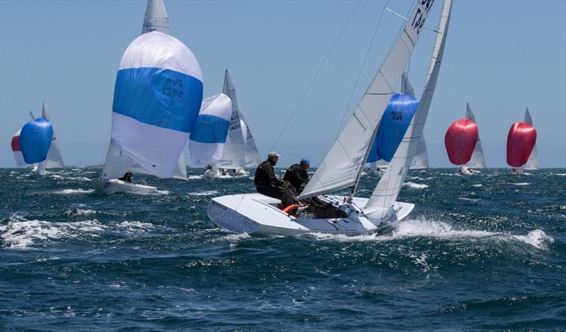 Final day - Magpie - First overall - Etchells Australian Championships at Fremantle photo copyright Ron Jensen taken at Royal Perth Yacht Club and featuring the Etchells class
