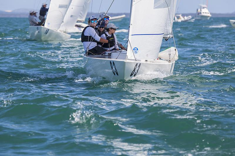 Just back in to Etchells is Kirwan Robb with his crew of Darren Jones, Same Tiedermann and Hugo Allison on day 4 of the Etchells Australian Championship photo copyright John Curnow taken at Royal Queensland Yacht Squadron and featuring the Etchells class