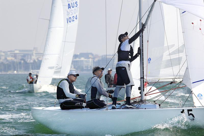 John Bertrand sailing with Billy Browne and Glenn Ashby (He loved the close racing and I loved hearing about the AC - said JB) in the 2019 Etchells Victorian Championship at Geelong - photo © AJMcKinnonPhotography.com