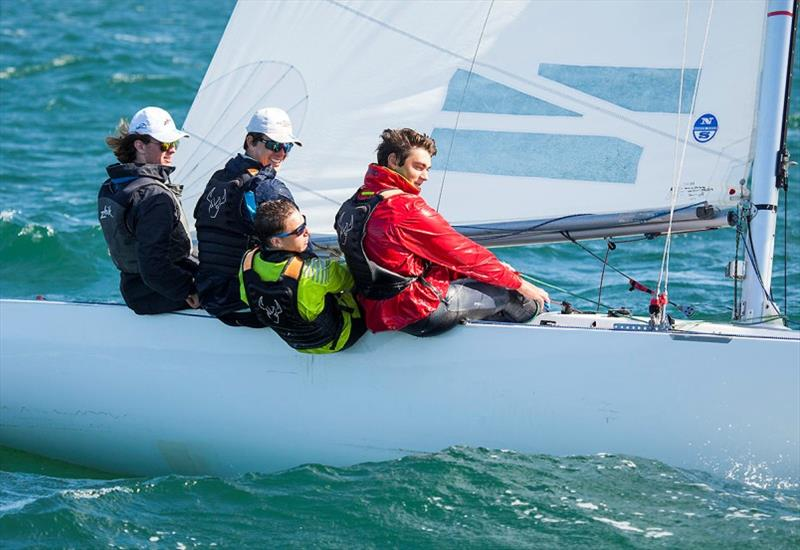 On a Mission – youth crew sitting in 15th place in their first ever regatta – Josh Galland, George Henderson, Ethan Hosking, and Lewis Sloane. - Etchells Victorian Championship 2020 photo copyright John Curnow taken at Royal Brighton Yacht Club and featuring the Etchells class