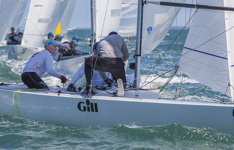 Noel Brennan on the tiller during the 2019 Etchells Australian Championship photo copyright John Curnow taken at Royal Queensland Yacht Squadron and featuring the Etchells class