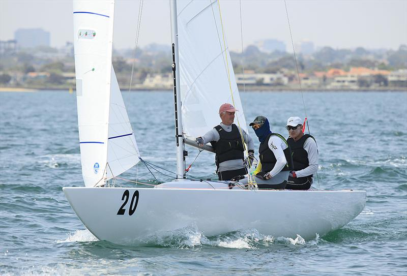 Noel Brennan on main for the Great Man, John Bertrand, with Jake Lilly on the bow - 2020 Etchells Australian Championship - photo © John Curnow