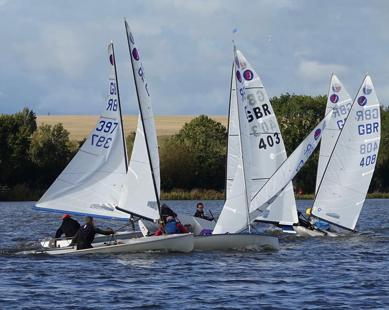 A busy gybe mark in race 4 during the Europe Inlands at Haversham - photo © Sue Johnson