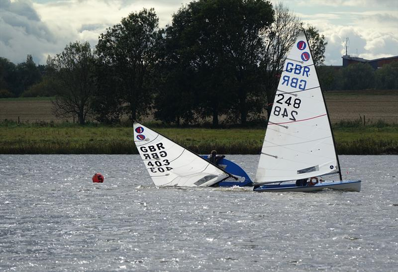 George Crammond's (403) capsize in race 3 during the Europe Inlands at Haversham - photo © Sue Johnson