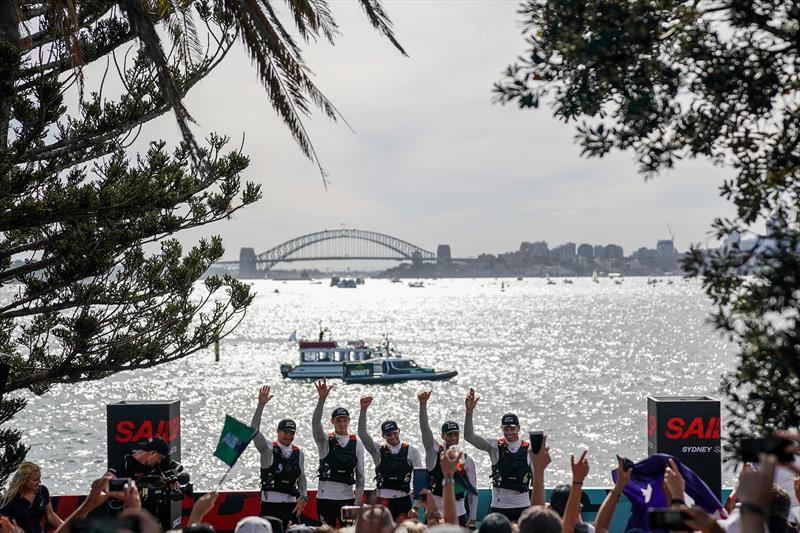 Australia SAILGP Team skippered by Tom Slingsby on the podium with Sydney Harbour Bridge behind after claiming victory at the Sydney SailGP - photo © Bob Martin / SailGP