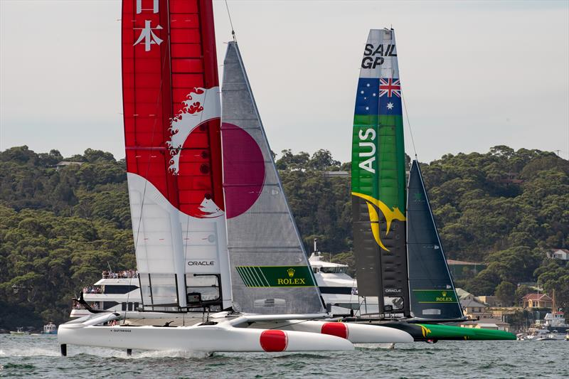 SailGP Australia Team leads upwind against SailGP Japan Team in their match race on day two of competition at the Sydney SailGP - photo © Chris Cameron / SailGP