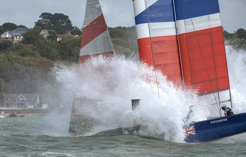 Great Britain SailGP Team nose dive during the first official race of Cowes SailGP causing extensive damage to their F50 photo copyright Chris Cameron for SailGP taken at  and featuring the F50 class