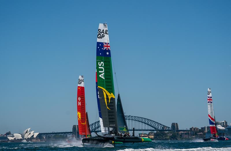 The Australia SailGP Team's F50 with Skipper Tom Slingsby AUS at the helm (centre) tduring he opening of event of SailGP Season 1 on Sydney Harbour - photo © Bob Martin for SailGP