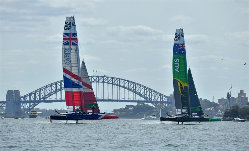 Australia SAILGP Team skippered by Tom Slingsby and Great Britain SailGP Team skippered by Dylan Fletcher during the opening of event of SailGP Season 1 on Sydney Harbour photo copyright Chris Cameron for SailGP taken at  and featuring the F50 class