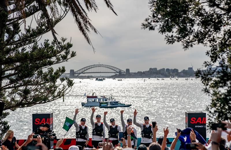 Australia SAILGP Team skippered by Tom Slingsby celebrate winning the opening of event of SailGP Season 1 on Sydney Harbour - photo © Bob Martin for SailGP