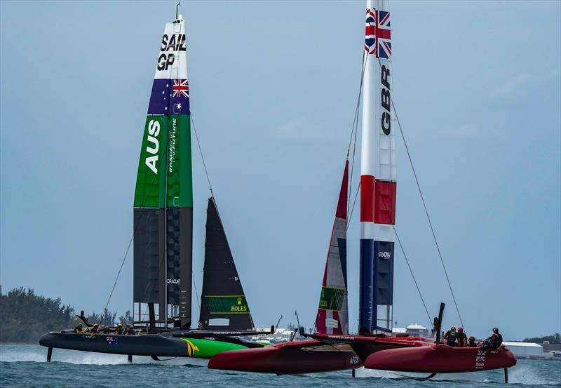 Great Britain cross Australia during final of the Bermuda SailGP presented by Hamilton Princess photo copyright Bob Martin for SailGP taken at  and featuring the F50 class