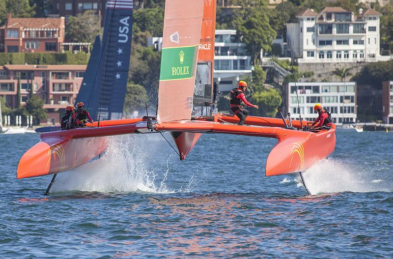 Team China on Day One of the inaugural SailGP on Sydney Harbour photo copyright John Curnow taken at Royal Sydney Yacht Squadron and featuring the F50 class