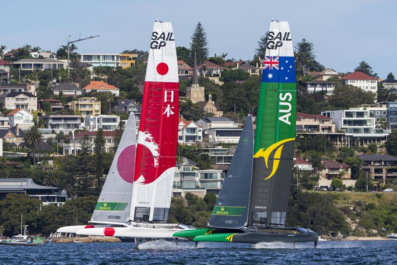 Match race between Team Japan (White boat) and Team Australia, who won the Sydney event photo copyright Andrea Francolini taken at Royal Sydney Yacht Squadron and featuring the F50 class