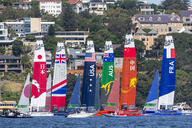 The fleet setting up for a start. photo copyright Andrea Francolini taken at Royal Sydney Yacht Squadron and featuring the F50 class