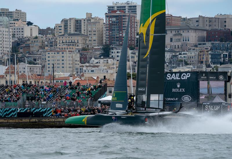 Australia SailGP Team skippered by Tom Slingsby races past the Race Village. Race Day 2 Event 2 Season 1 SailGP event in San Francisco, California, United States. 05 May  - photo © Bob Martin for SailGP
