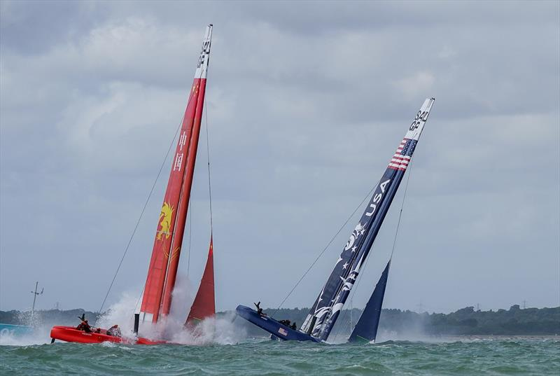 United States SailGP Team helmed by Rome Kirby capsizes in race one. Race Day. Event 4 Season 1 SailGP event in Cowes, Isle of Wight, England, United Kingdom. photo copyright Bob Martin for SailGP taken at  and featuring the F50 class