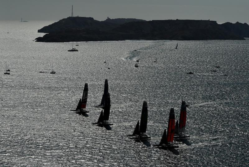 The fleet on the Rade de Marseille during fleet racing. Race Day 1. The final SailGP event of Season 1 in Marseille, France. photo copyright Jon Buckle for SailGP taken at  and featuring the F50 class